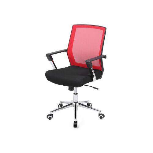 SONGMICS Bürostuhl mit Netzbezug Rot-schwarz