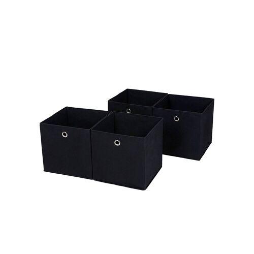 SONGMICS Aufbewahrungsboxen 4 Stück Schwarz
