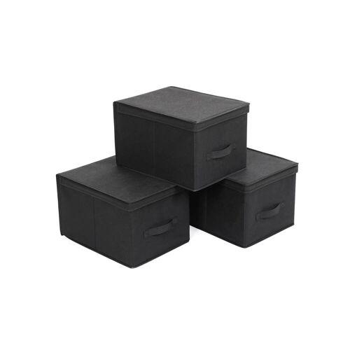 SONGMICS Aufbewahrungsboxen 3 Stück Schwarz