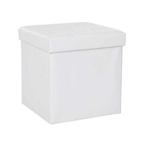 SONGMICS Kleiner Sitzwürfel Kunstleder Weiß
