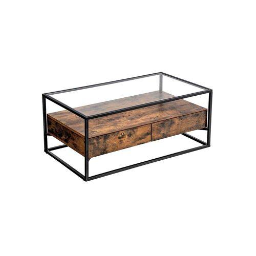VASAGLE Industrie-Design Couchtisch Glas