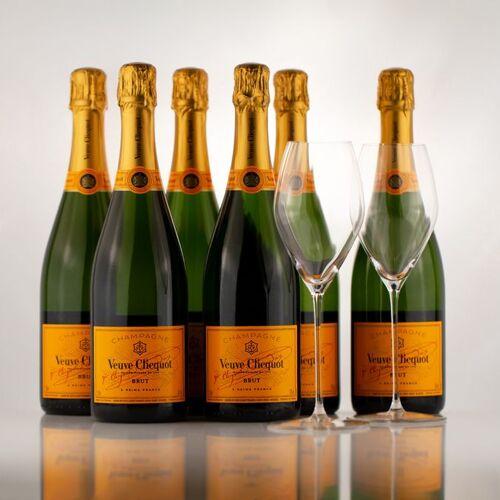 Gourmondo 6x Veuve Clicquot Brut Champagner 0,75l + 2x Gourmondo Gläser