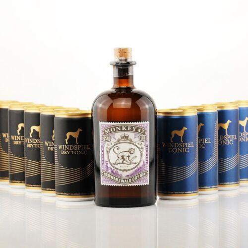 Gourmondo Monkey 47 Dry Gin 0,5l + 12x Windspiel Tonic Water