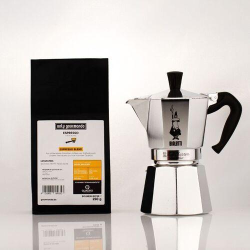 Gourmondo Bialetti Moka Express 6 Tassen + only Gourmondo Quadro Espresso Blend, Parzellenkaffee 250g
