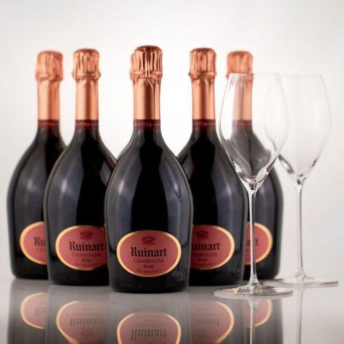 Gourmondo 6x Champagner Ruinart Rosé 0,75l + 2x Gourmondo Gläser