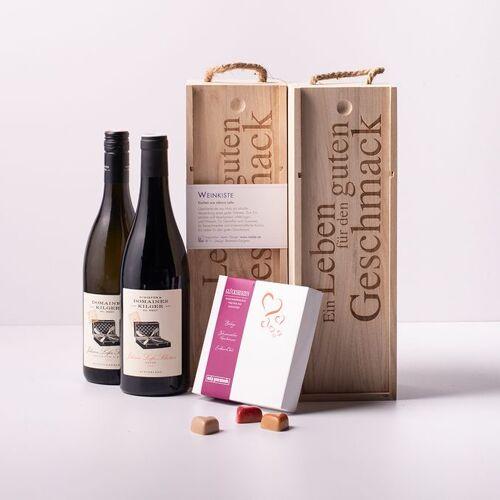 Gourmondo Glücklich mit Johann Lafer - Weinpaket + Gourmondo Glückspralinen + 2 Weinkisten