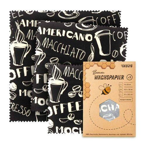Skojig 3er Set Wachspapier - 100% plastikfrei   Kaffee