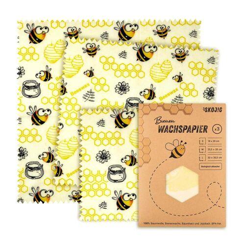 Skojig 3er Set Wachspapier - 100% plastikfrei   Bienen