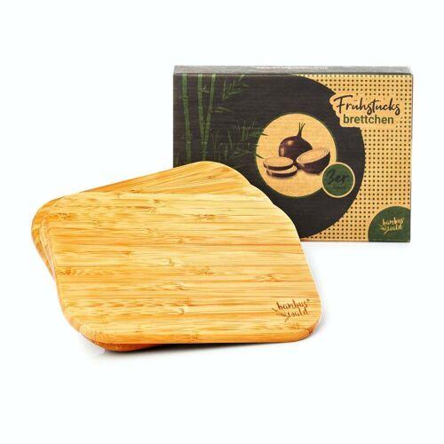 Bambuswald 3er Set ökologische Frühstücksbretter aus 100% schnellwachsendem Bambus