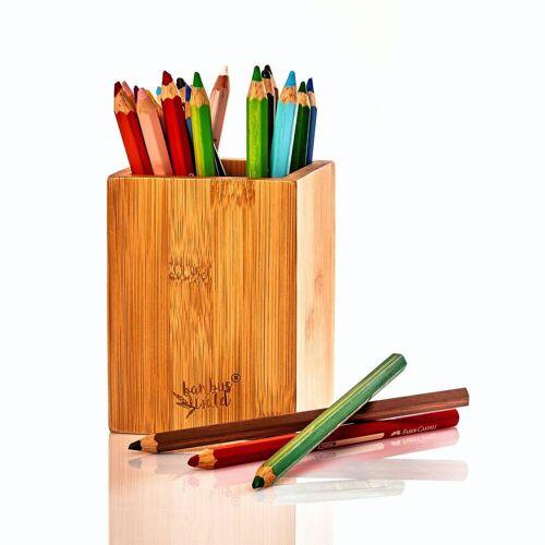 Bambuswald Nachhaltiger Stiftehalter aus 100% Bambus für Deinen Schreibtisch