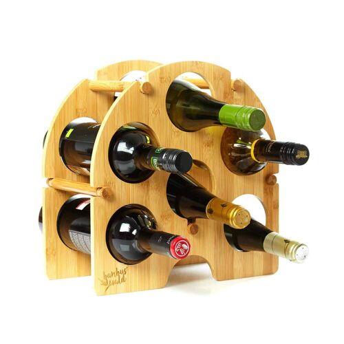 Bambuswald Rundes Weinregal / Flaschenregal für 6 Flaschen aus 100% Bambus