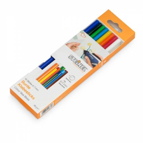 Steinel Klebesticks Colour, Ø 7 mm, 15 cm lang, 16 Sticks, bunter Kleber