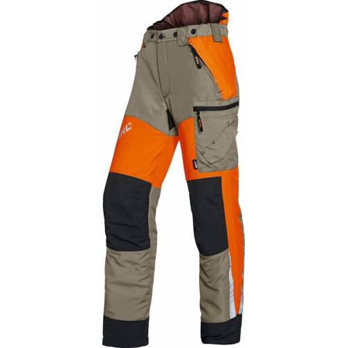 Stihl Bundhose Dynamic Vent, orange-schwarz-khaki, Schnittschutzhose, leicht, atmungsaktiv