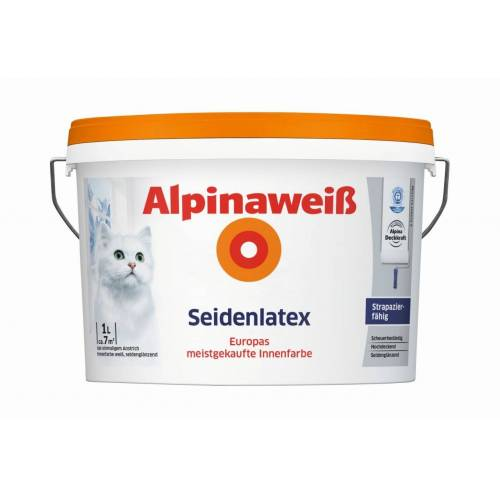 Alpina Farben Alpina Weiß Seidenlatex 1L2,5L5L10L  Latexfarbe für strapazierfähige Wände