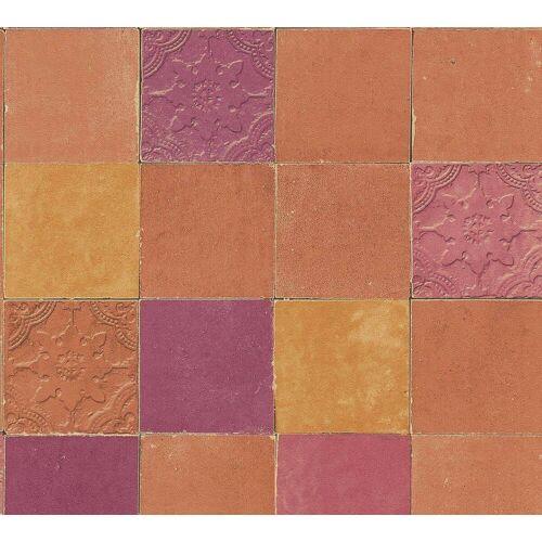 AS Creation Tapete  Fliesenoptik Orange Rot  New Walls