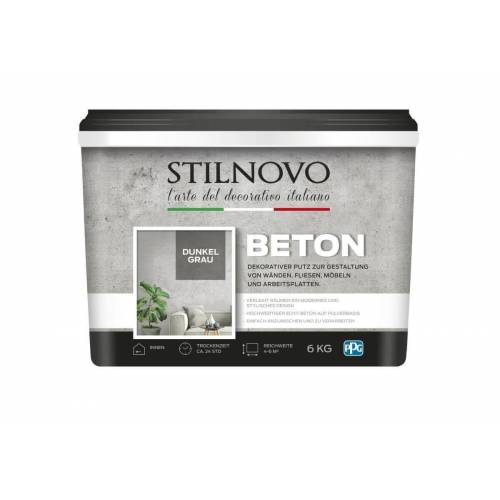 STILNOVO Beton, 6 kg für ca 5 m², 4 Farben, Echt-Beton-Charakter, Pulverspachtel