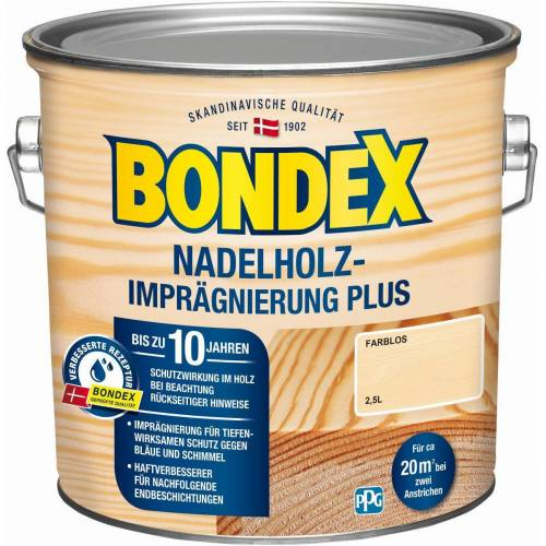 BONDEX Nadelholz-Imprägnierung Plus, 2,5 l, Holzschutzgrundierung, Schutz vor Bläue und Schimmel