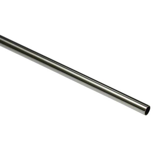 Gardinia New York 200 cm Gardinenstange Ø 12 mm Edelstahl-Optik  Metall-Gardinenstange