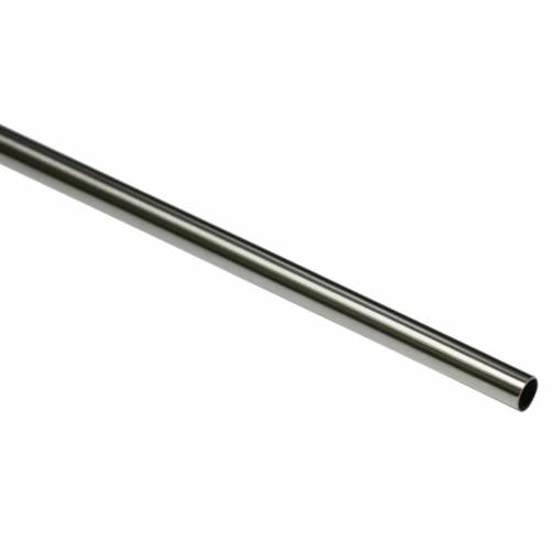 Gardinia New York 120 cm Gardinenstange Ø 12 mm Edelstahl-Optik  Metall-Gardinenstange