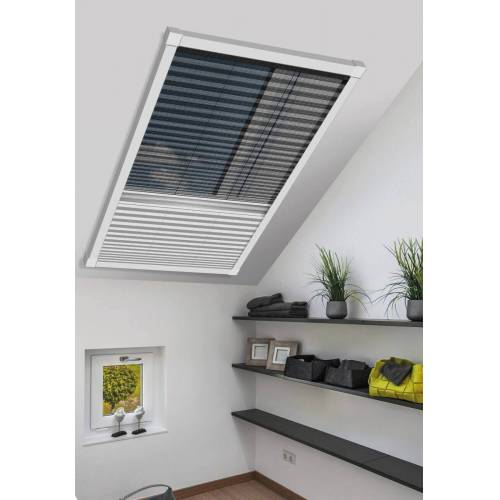 Schellenberg Fliegengitter-Plissee & Verdunkelung für Dachfenster  114 x 160 cm in Weiß