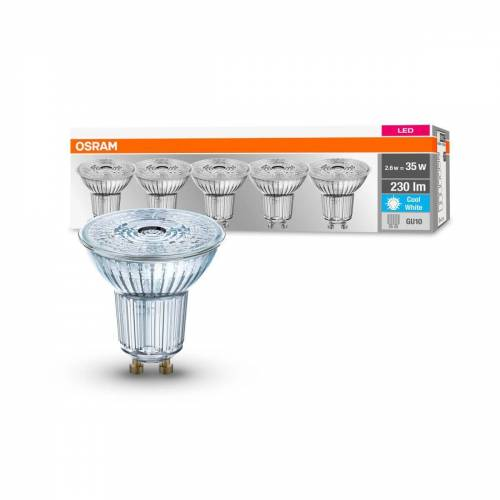OSRAM GmbH Osram 5er Pack LED BASE PAR16 2,6W = 35W GU10 Strahler 230 lm 36° 4000 K Neutralweiß