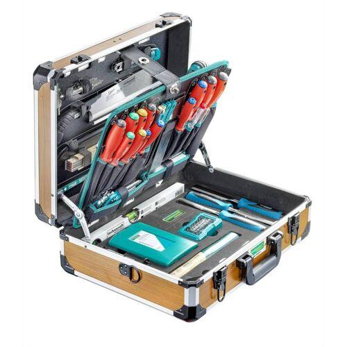 technocraft Professional Werkzeugkoffer Pro Wood Alu,126-teilig, Holzdesign, Werkzeugkasten