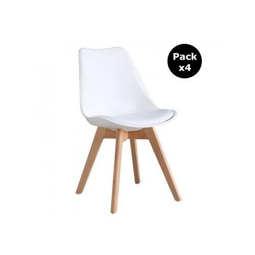 Pack X4 Stuhl Scandinavian Mit Holzbeinen