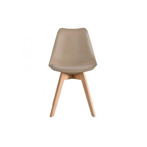 Stuhl Scandinavian Mit Holzbeinen Beige