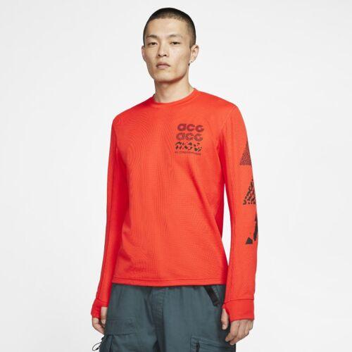 Nike ACG Langarmoberteil mit Waffelmuster - Rot, M