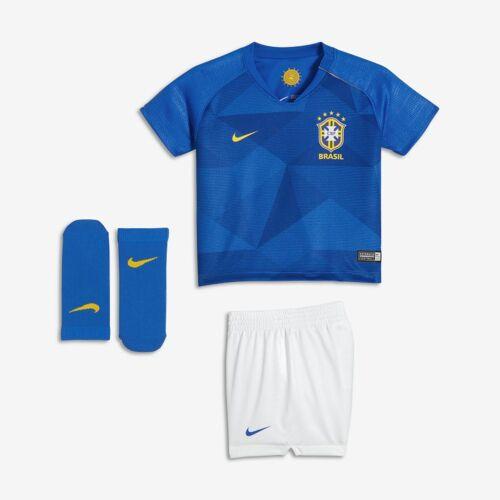 Nike Brasil Away Fußballtrikot-Set für Babys - Blau 6-9M Unisex