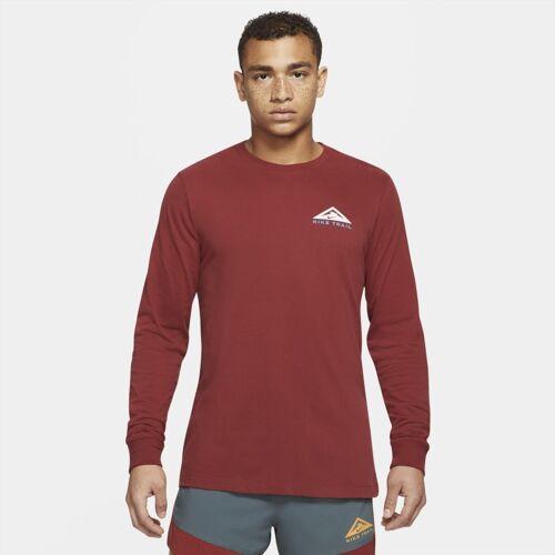 Nike Dri-FIT langärmliges Trail Run-T-Shirt - Rot XS Male