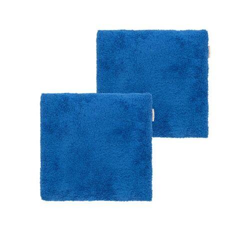 Edelzeit - Heimtextilien in Felloptik Dekokissen 2er-Set blau