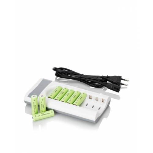 HSE Ladegerät + 8 aufladbare AA Batterien