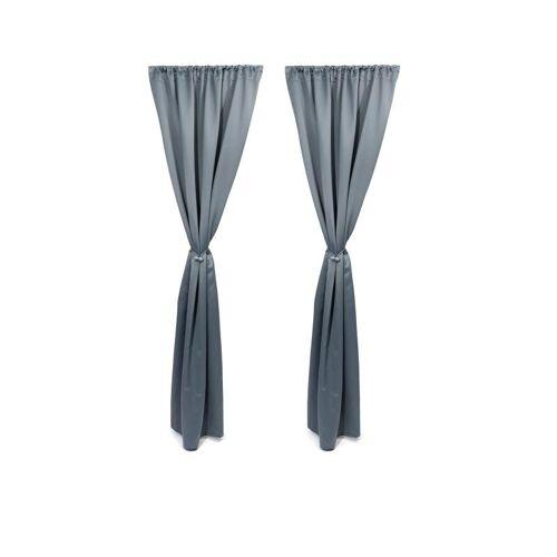 HSE Vorhang-Set mit magnetischem Raffhalter hellgrau