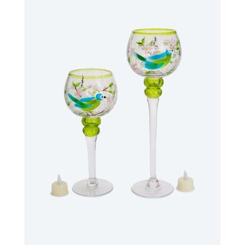 HSE Glaskelch-Duo mit LED-Kerzen