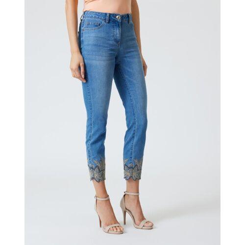 Pfeffinger 5-Pocket-Jeans mit Stickerei blau