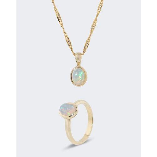 Terra Opalis Set: Ring und Anhänger mit Kristallopal