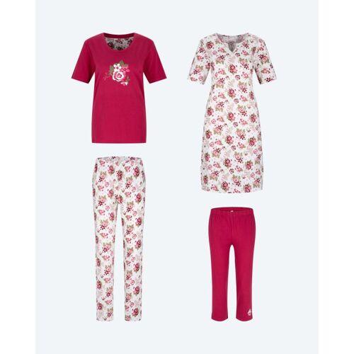 Joliena Collection Pyjama, Hose & Nachthemd, 4tlg. bunt