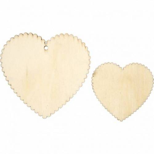 Creotime holzherzen 5   7,5 cm klar pro 12 Stück