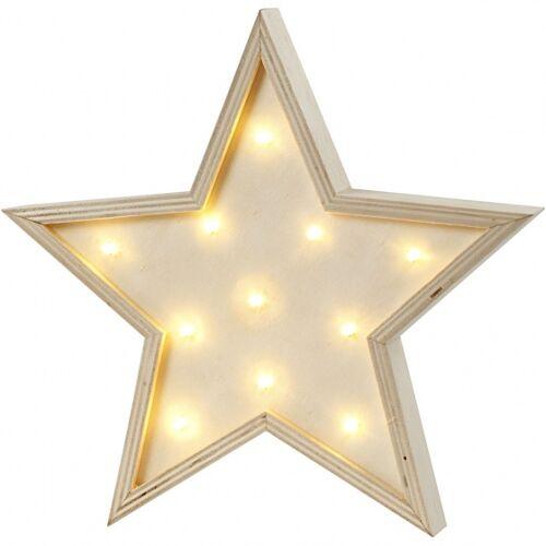 Creotime leuchtkasten Stern 26 cm aus klarem Holz