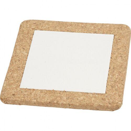 Creotime untersetzer 15,5 x 15,5 cm Porzellan/Kork weiß 10 Stück