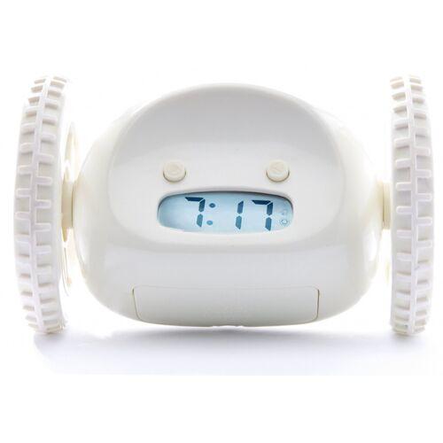 Clocky wecker auf Rädern 13,5 x 9 x 9 cm Kunststoff weiß