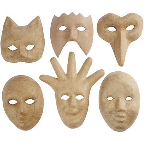 Creotime masken aus Pappmaché 6 Stück
