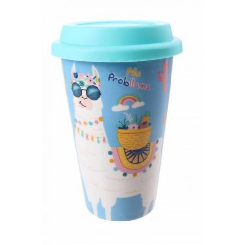PMS tasse mit Deckel lama blau 400 ml