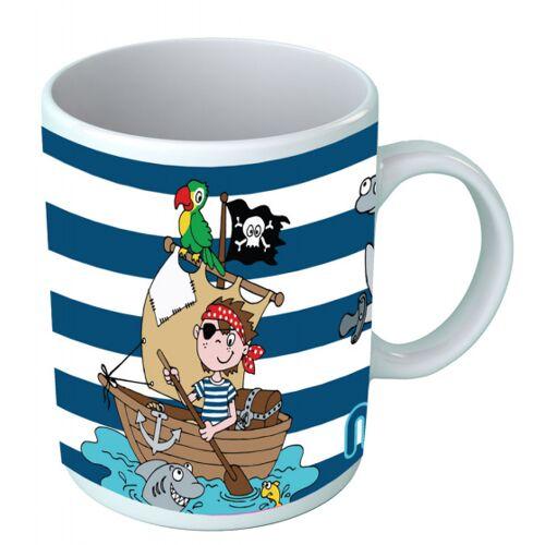 Must becher Piratenboote Jungen 325 ml Keramik weiß/blau