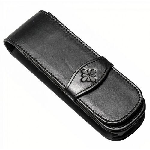 Diplomat etui für 2 Stifte 15,5 x 4,5 cm Leder schwarz
