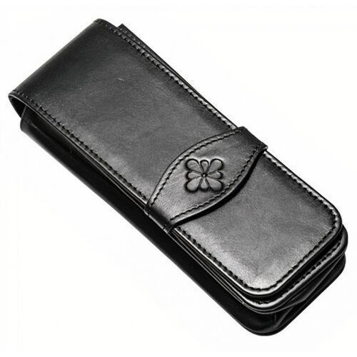 Diplomat etui für 3 Stifte 15,5 x 5 cm Leder schwarz