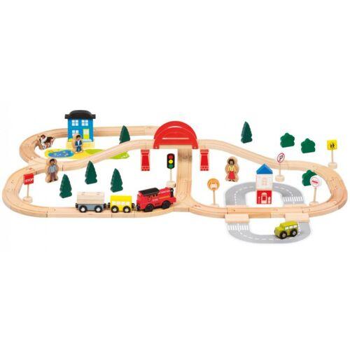Bino eisenbahn Set Junior Holz 70 Stück