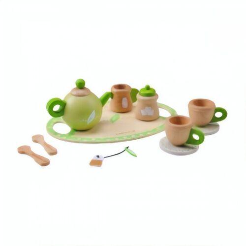 Everearth Küchenspielzeug aus Holz Tee Rollenspiel weiß/grün 11 teilig