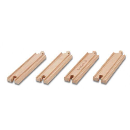 Everearth Eisenbahnschienen Holz gerade 15 cm 4 teilig